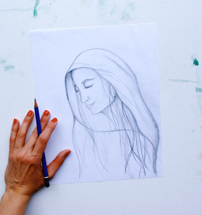 A sketch of the painting for the Solemnity of the Immaculate Conception
