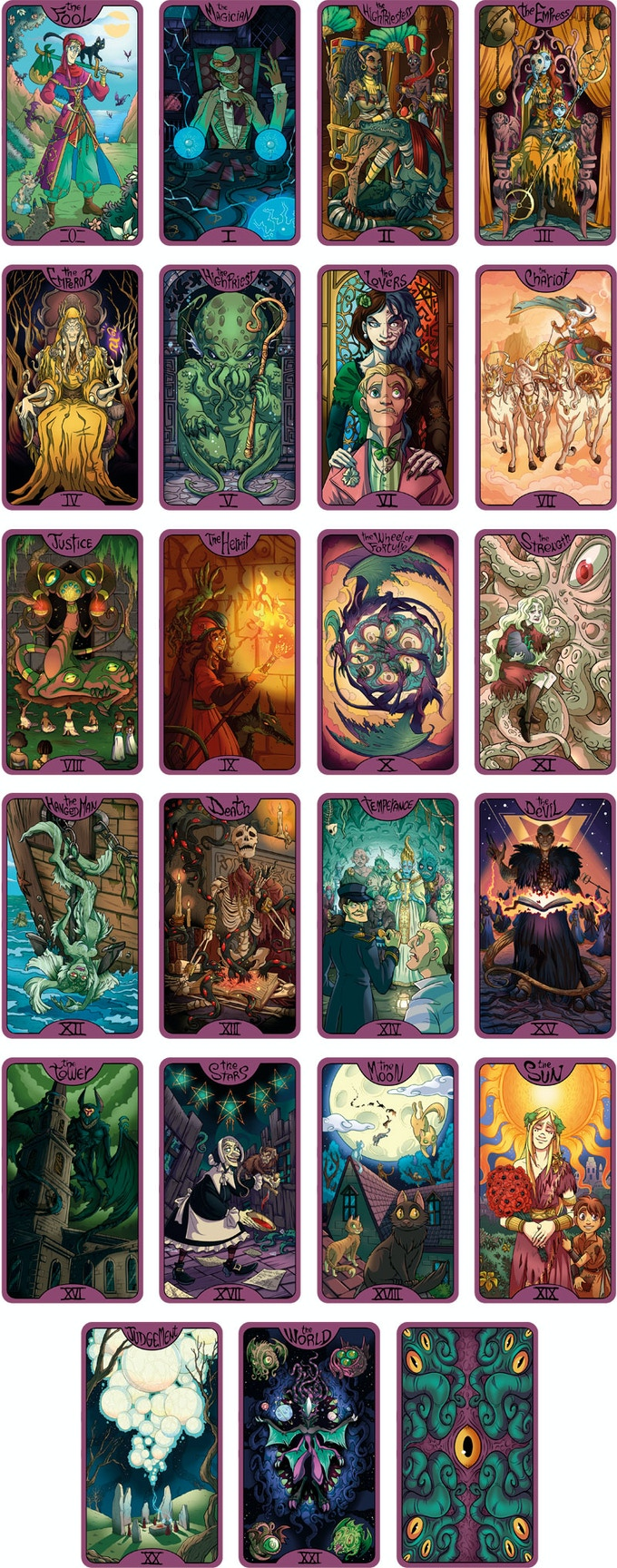 22 Major Arcana cards and the back side