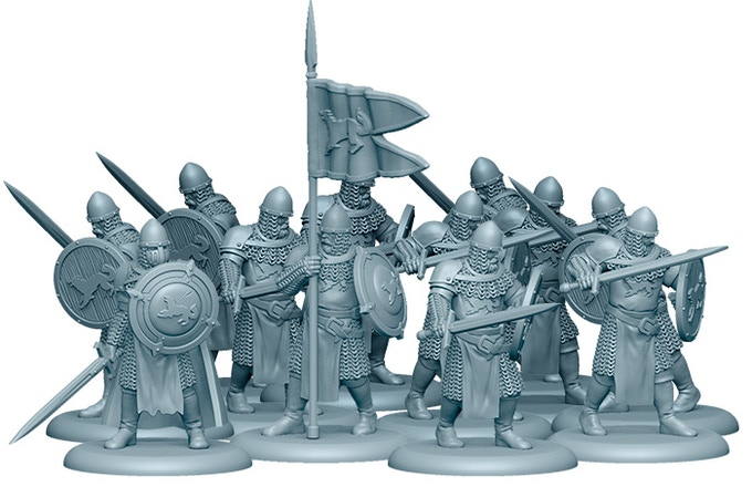 3D Render of the Stark Sworn Swords. 2 copies of this unit are included in the Starter Set!