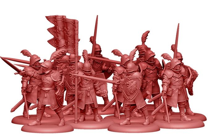 3D Render of the Lannister Guards. 2 copies of this unit are included in the Starter Set!