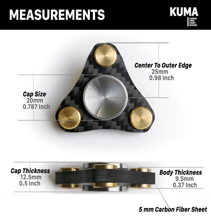 KUMA | Carbon Fiber - Brass - Stainless Steel-Fidget Spinner