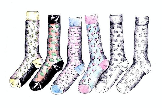 This is a rendering of a first sketch - basic outline of how we want the socks to look.