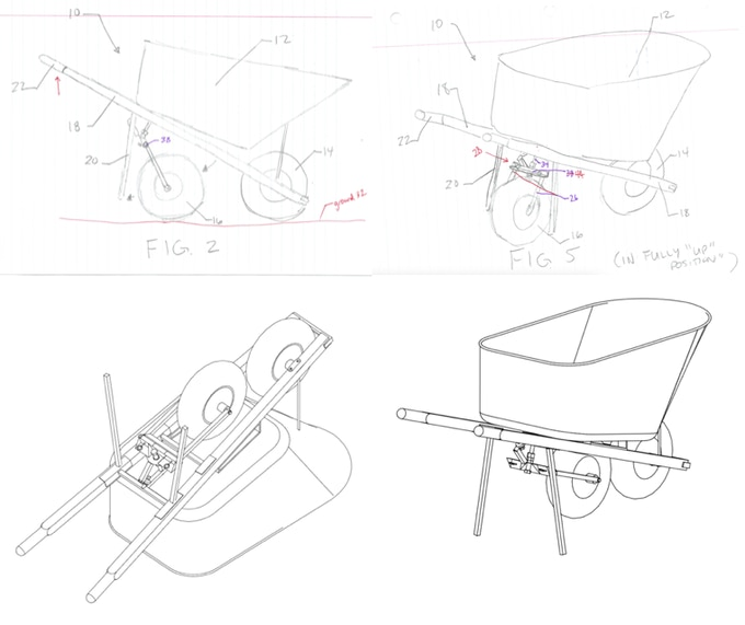 Conceptual sketches & CAD drawings for patent application