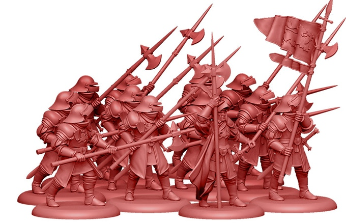 3D Render of the Lannister Halberdiers, included in the Starter Set!