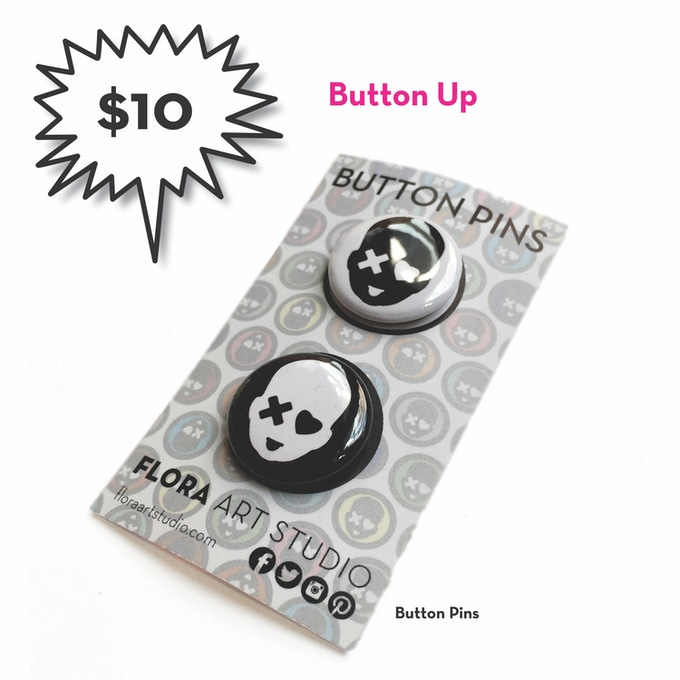 "Two 1"" button pins"