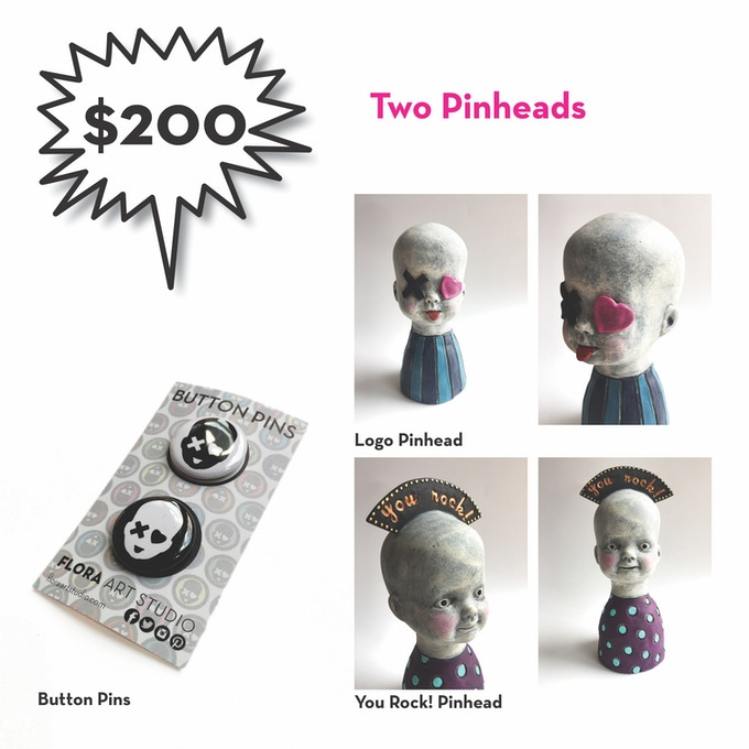 "One logo pinhead + one ""you rock"" pinhead + two button pins"