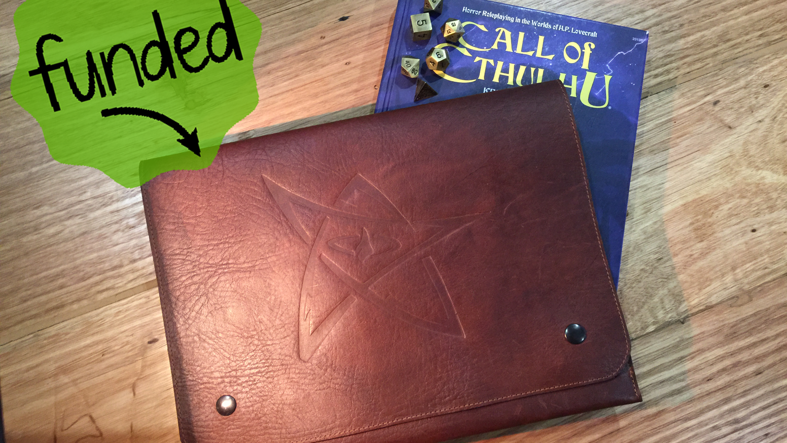 Call of Cthulhu document wallet, handmade from real leather, equipped with multiple pockets and embosssed with one of 3 designs.