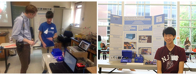 Polyfuge being presented at STEMteachersNYC at Columbia University (left) and Montgomery High School STEM Day in Skillman New Jersey (right).