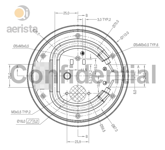 Detailed heater design for Qi Aerista