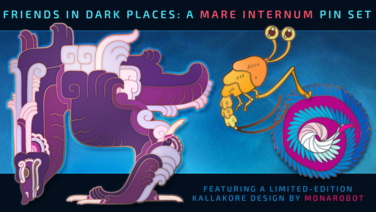 An enamel pin set featuring creatures from the sci-fi webcomic Mare Internum