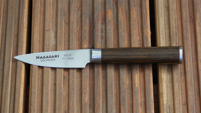 Sample of paring knife, the label on the blade is not correct