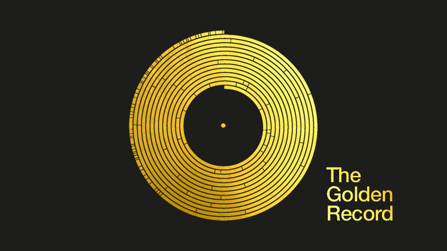 Data visualisations and cover of the Voyager Golden Record, reproduced here as gold-printed limited edition artwork. Projects of Earth.