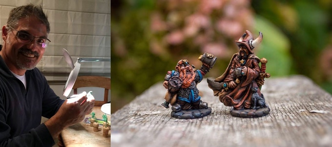 Darcy Perry, Sculptor. | Legendary Heroes Tenkar and Buffalorick drink to the success of the last Kickstarter (painted by Rom Brown).
