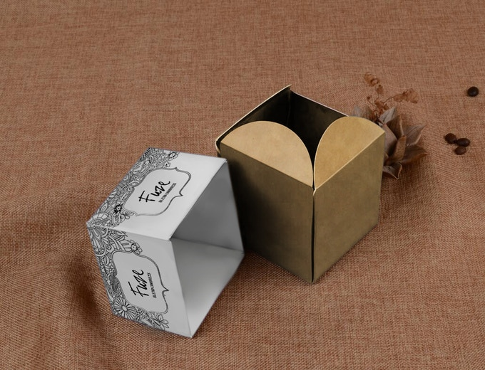 Origami style box that opens like a flower to reveal the Bombshell