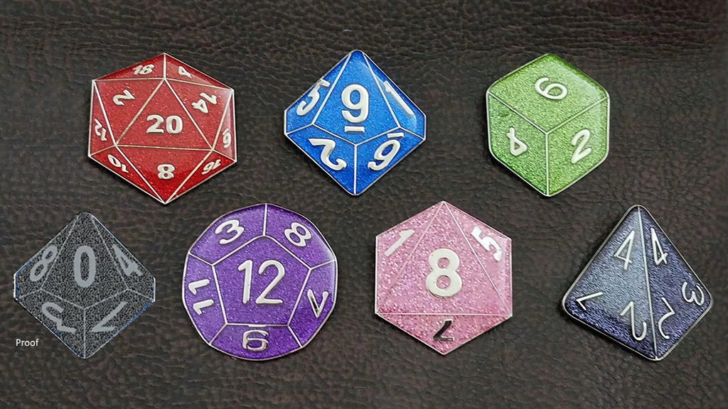 Featuring a full set of gaming dice - d4, d6, d8,  two d10s, d12, d20 - in a variety of colors! Perfect for the gamer in your life!