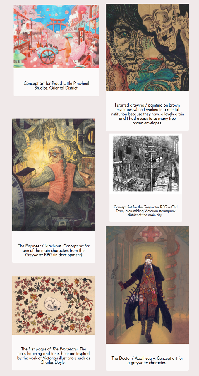 Extracts from Eleanor's portfolio (our illustrator)