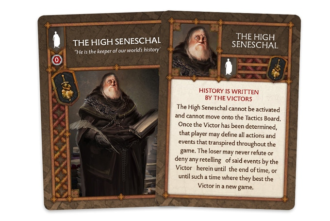 Back and Front view of the game card for The High Seneschal