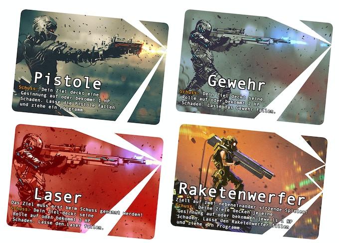 Das sind die unterschiedlichen Waffen. Der Raketenwerfer und der Laser sind zu Beginn des Spiels nicht freigeschaltet.