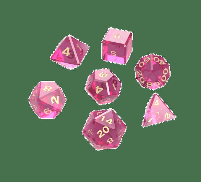 Pink polyhedral dice rendering