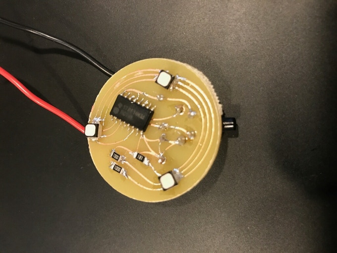 Photo of circuit board prototype with push button