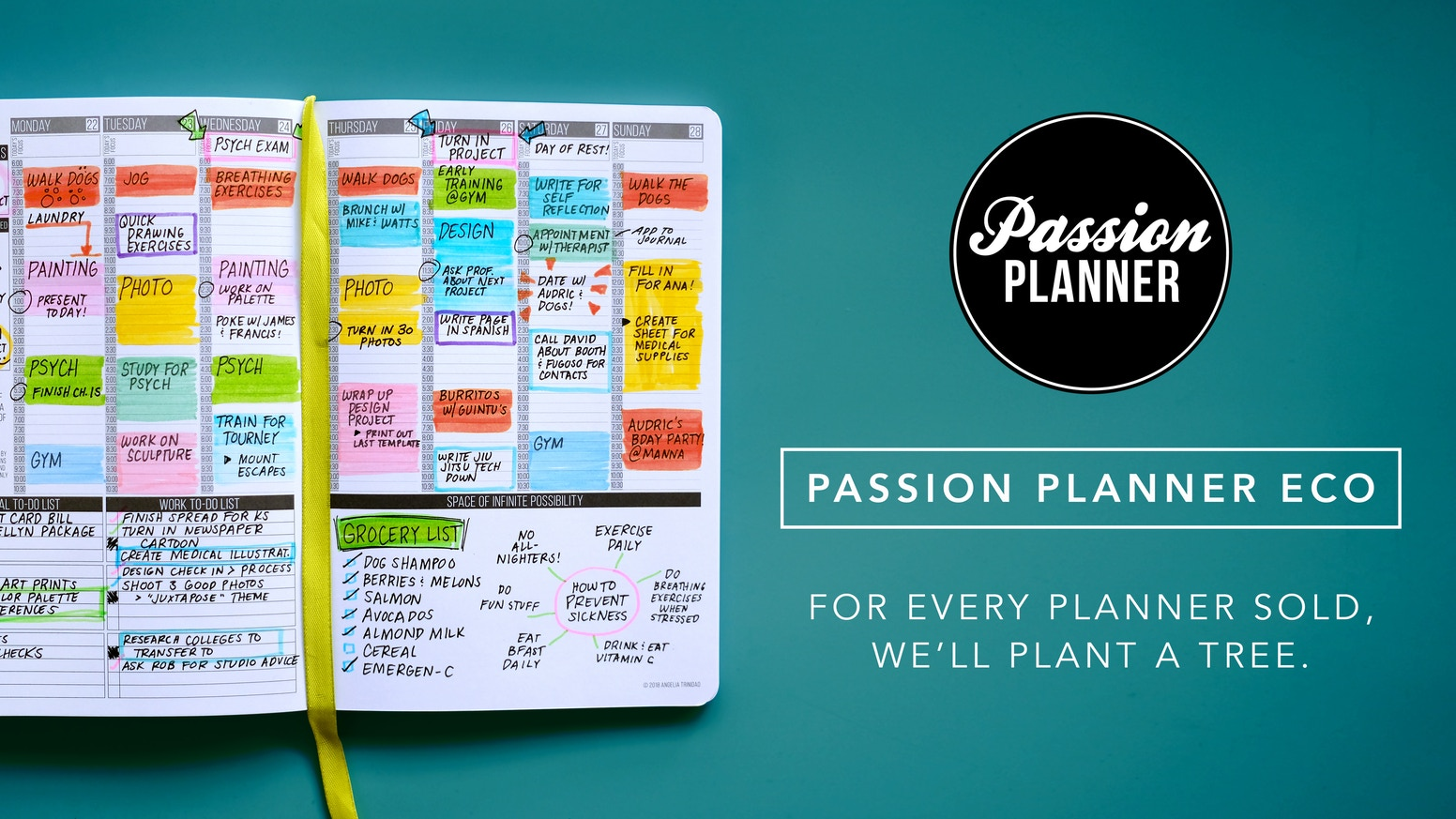 Redesigned with the planet in mind. For every planner we sell, we'll plant a tree.