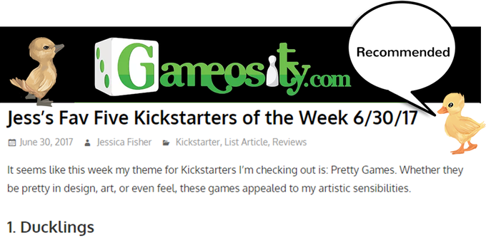 Ducklings is top recommended from Jess's Fav Kickstarters of the Week via Gameosity