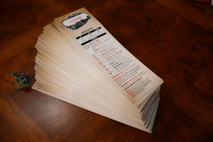 314 monsters, animals and npcs are pre-printed on durable cover stock.