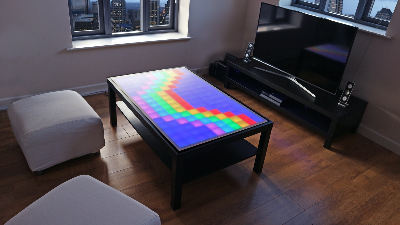 Animated LED coffee table. Create your own animations, play arcade games, wireless music-reactive, and smartphone controlled!