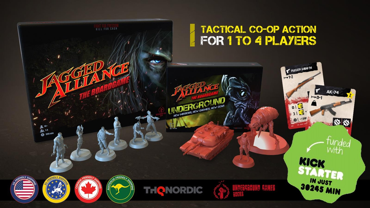 A co-operative, tactical 1-4 player game based on the Jagged Alliance series. Lead, train and gear up your mercs to take back Arulco!German Rules Added!