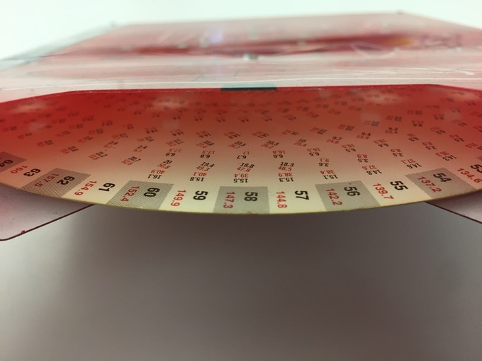 A peek at the intricately laid out data disc inside one of Humanscale's selectors, originally laid out by hand