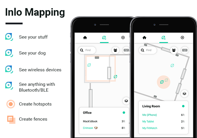 Part of Inlo's utility comes from a fully optimized map view with the ability to track items and create interactive layers like fences and hotspots.