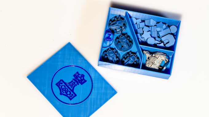 Nordic faction box, with mechs, character, wooden pieces, and custom Action Token