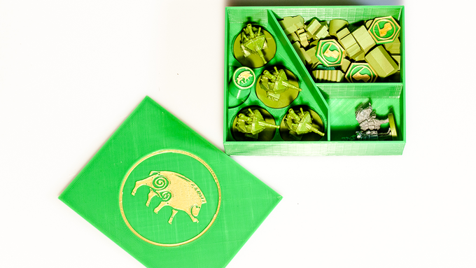Albion faction box, with mechs, character, wooden pieces, custom Action Token, and custom Flag tokens