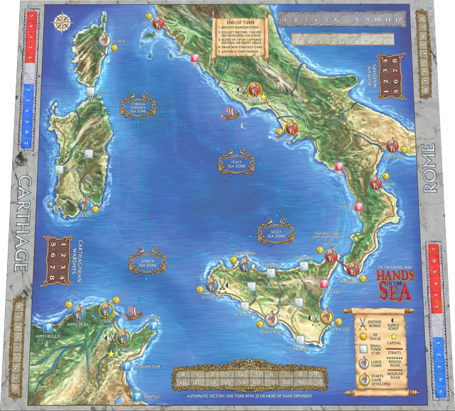 The 2nd Edition Game Board will have an alternate background map illustration on the back side. (1st Edition Game Board shown)