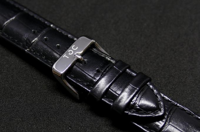 Strap: Black Crocodile Style Leather