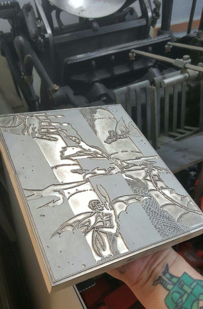 Magnesium plate for one of our limited edition prints- about to go onto the letterpress!