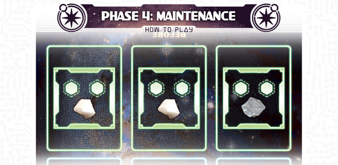 In the final phase, resources, planet cards, and ship cards are refilled to prepare for the next round.