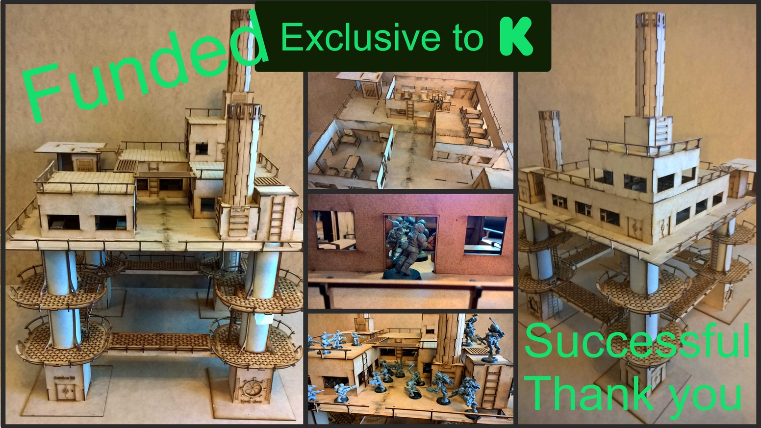 New project creating very highly detailed MDF wargame buildings with pipes and tubes. Huge variety of buildings for all 28mm wargames