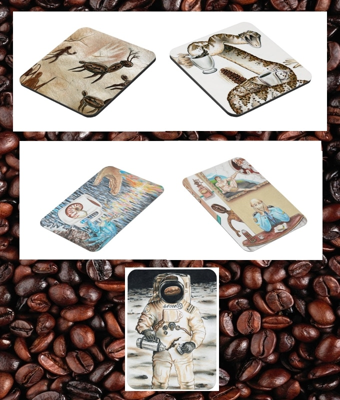 Coasters and Magnets. (Yeah, we own all this. I told you we were massive coffee fans!)