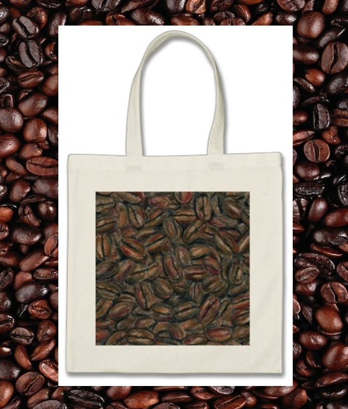 100% Cotton Tote with Coffee Beans Art