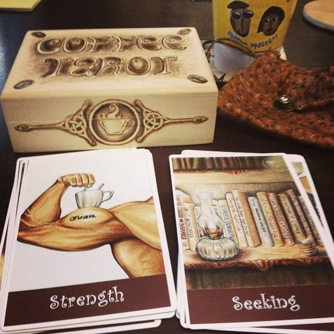 A lucky Tarotist who bought our Majors-Only Coffee Tarot won this box, custom woodburned by Ron outside and inside. Themes: Coffee, Celtic Knotwork, Cats, Bears and The Hermit. The box we'll be offering here is larger: 8 1/8 x 5.25 x 3.25 inches.