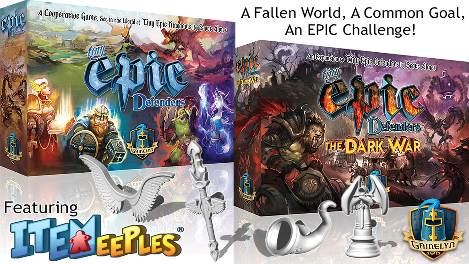 "Tiny Epic Defenders is a 30min,1-4 player, easy-to-learn fantasy co-op that features stunning art and our ""game-changing"" ITEMeeples®!"
