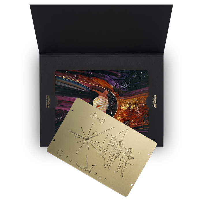 A replica by the original craftsman and reissue of NASA's Pioneer Plaque, honoring the design by Frank Drake, Carl Sagan and Linda Salzman Sagan. Available now.