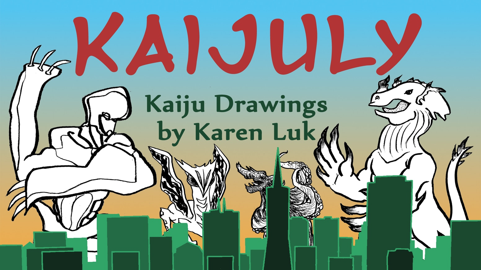 "Kaijuly 2017 is a sketchbook collection of kaiju drawings to color in. Kaiju is Japanese for ""strange beast"" or ""giant monster."""