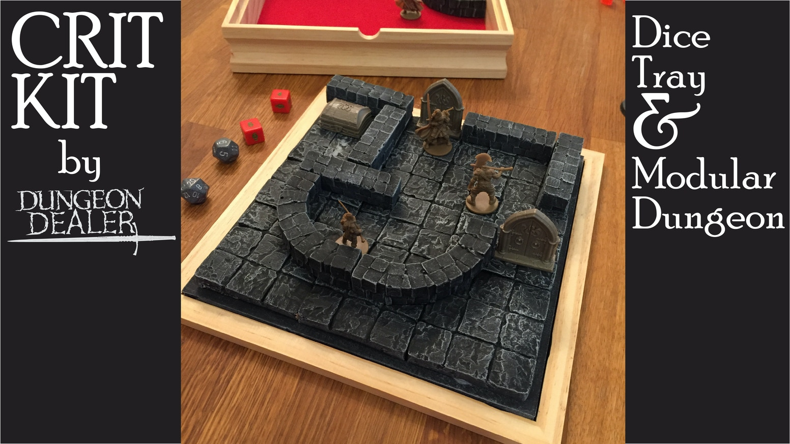 CRIT KIT - Dice Tray and Portable Dungeon with modular walls.