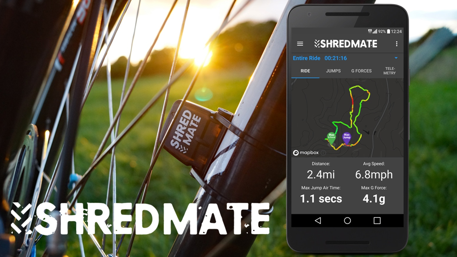 ShredMate is the first cycle computer for mountain bikes that measures jumps, g-forces and detects rough trails automatically.