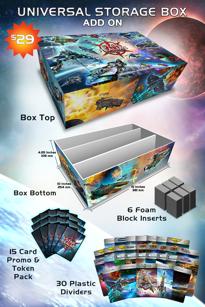 Big enough to hold every Star Realms set with or without sleeves plus a playmat! Final art may vary.