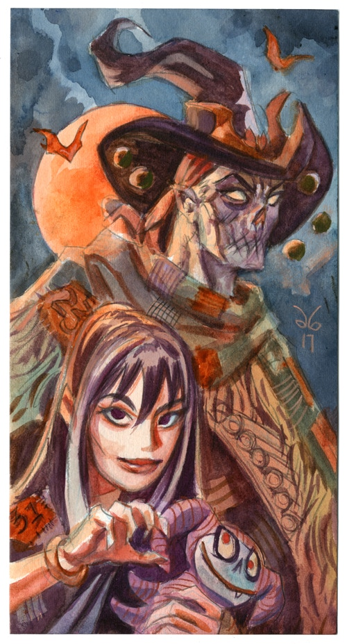 "Original Art reward- ""Gunwitch & Evening"", Waterolor on Watercolor paper."