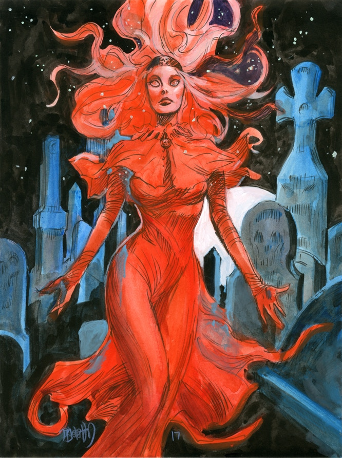 "Original Art Reward 'Red Wraith"", ink and gouache on Bristol Board"