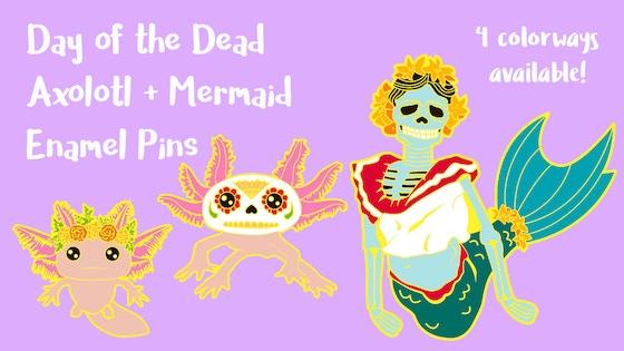 Axolotl + Mermaid Enamel Pins - Day of the Dead Inspired